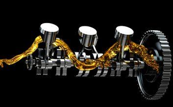 3d illustration of engine. Motor parts as crankshaft, pistons with motor oil splash